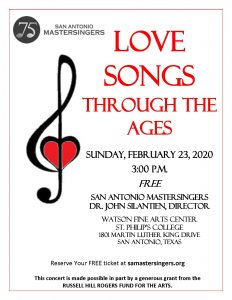 "San Antonio Mastersingers Present Free Concert: ""Love Songs Through the Ages"""