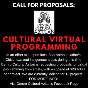 Call for Proposals: Cultural Virtual Programming